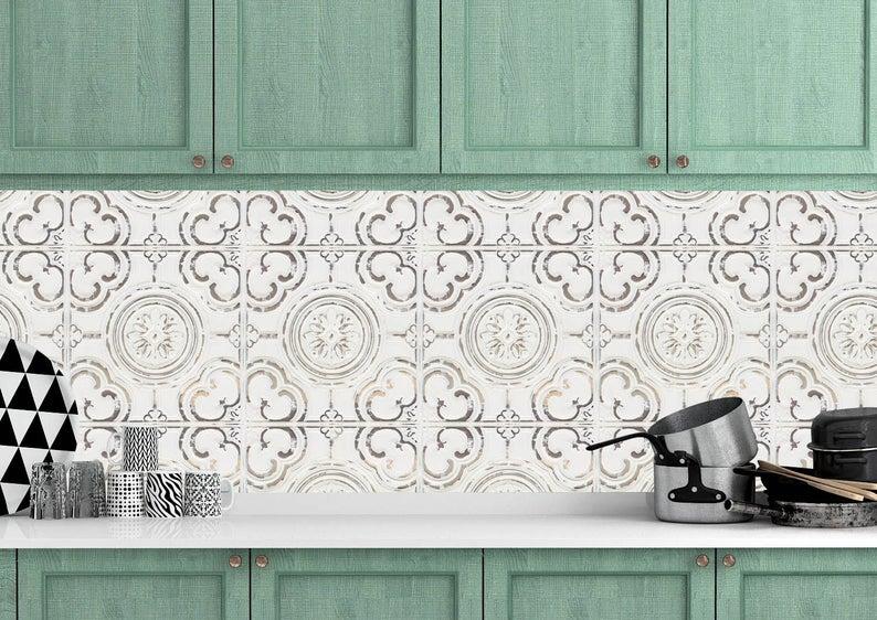 Faux Ceiling Tile Removeable Wallpaper Peel And Stick Etsy Peel And Stick Wallpaper Ceiling Tile Geometric Tiles