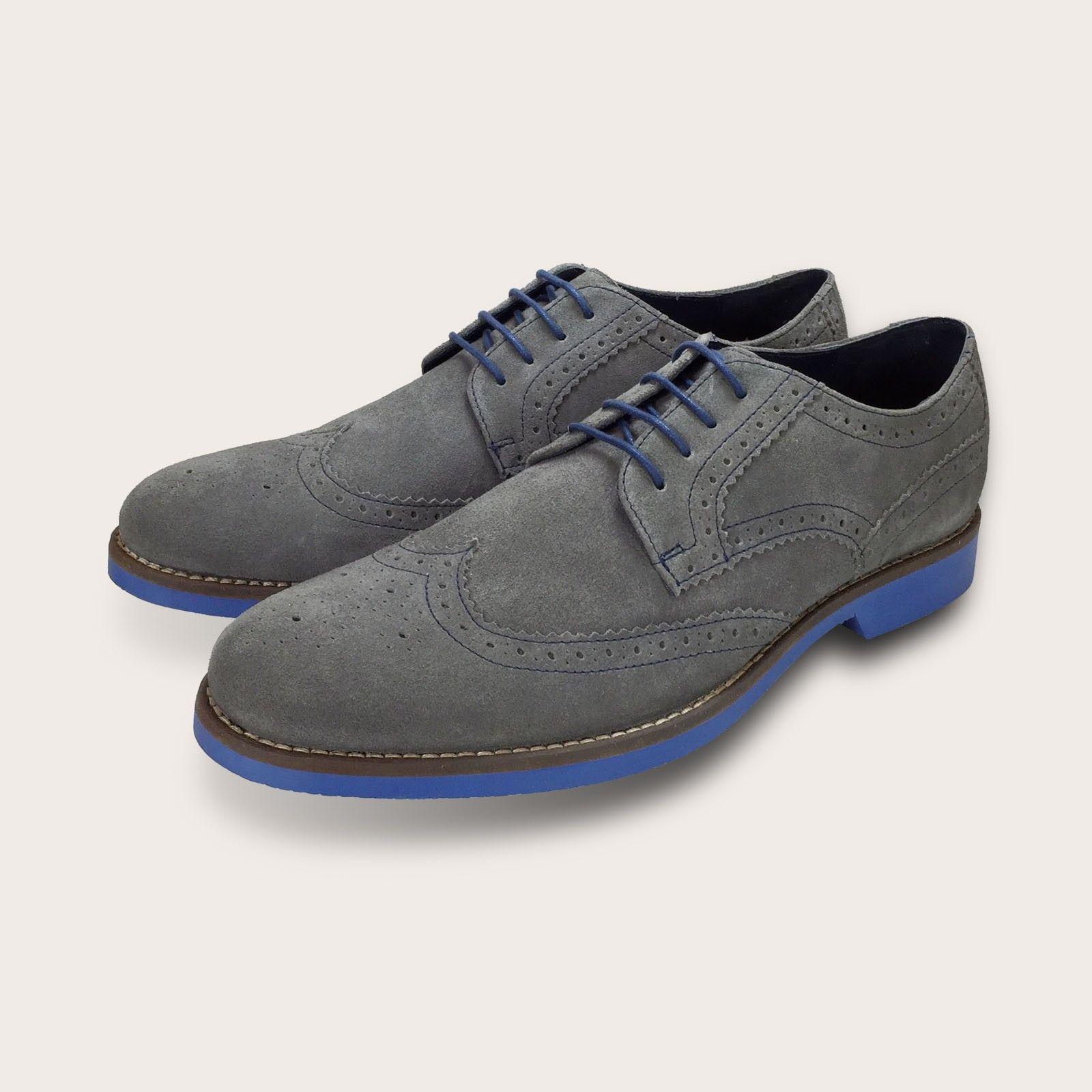 Men S Grey Suede Brogue Shoes Blue Soles By Coogan London Brogues Men Dress Shoes Men Brogue Shoes