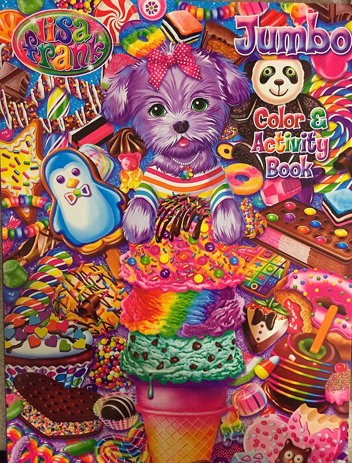 lisa frank jumbo color u0026 activity book 125 stickers u0026 tear