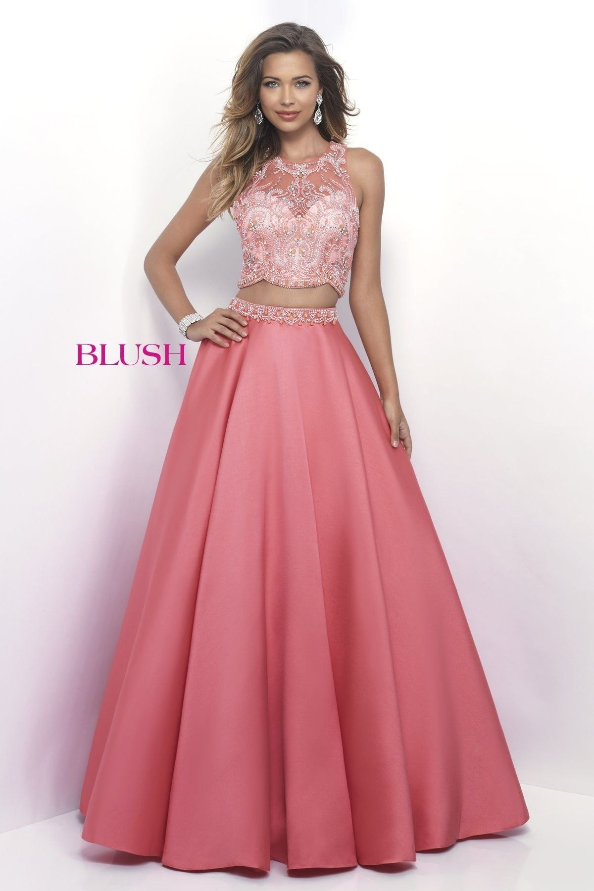 Pink by Blush 5619 Bittersweet Beaded Two-Piece Prom Dress | Ladies ...