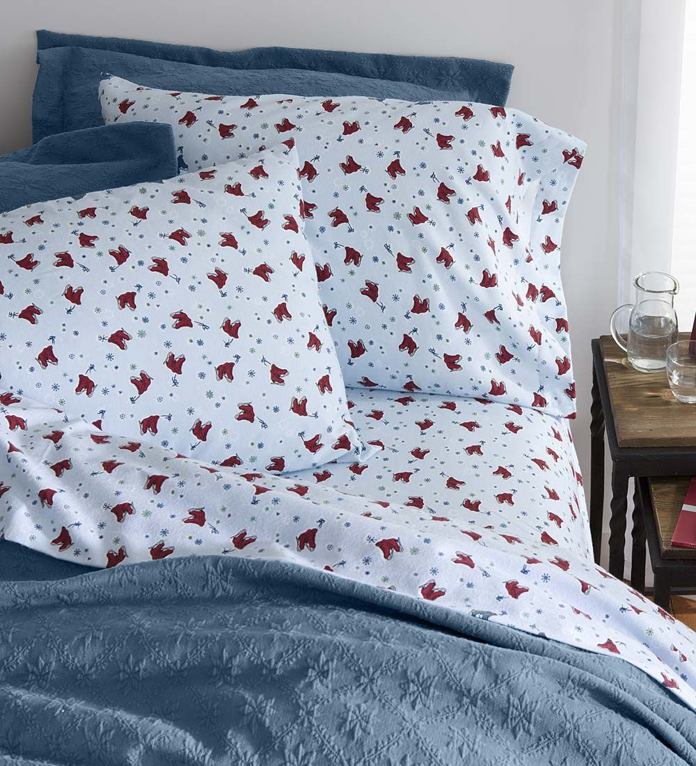Our Ice Skates Flannel Sheet Sets Are Full Of Nostalgic Charm But