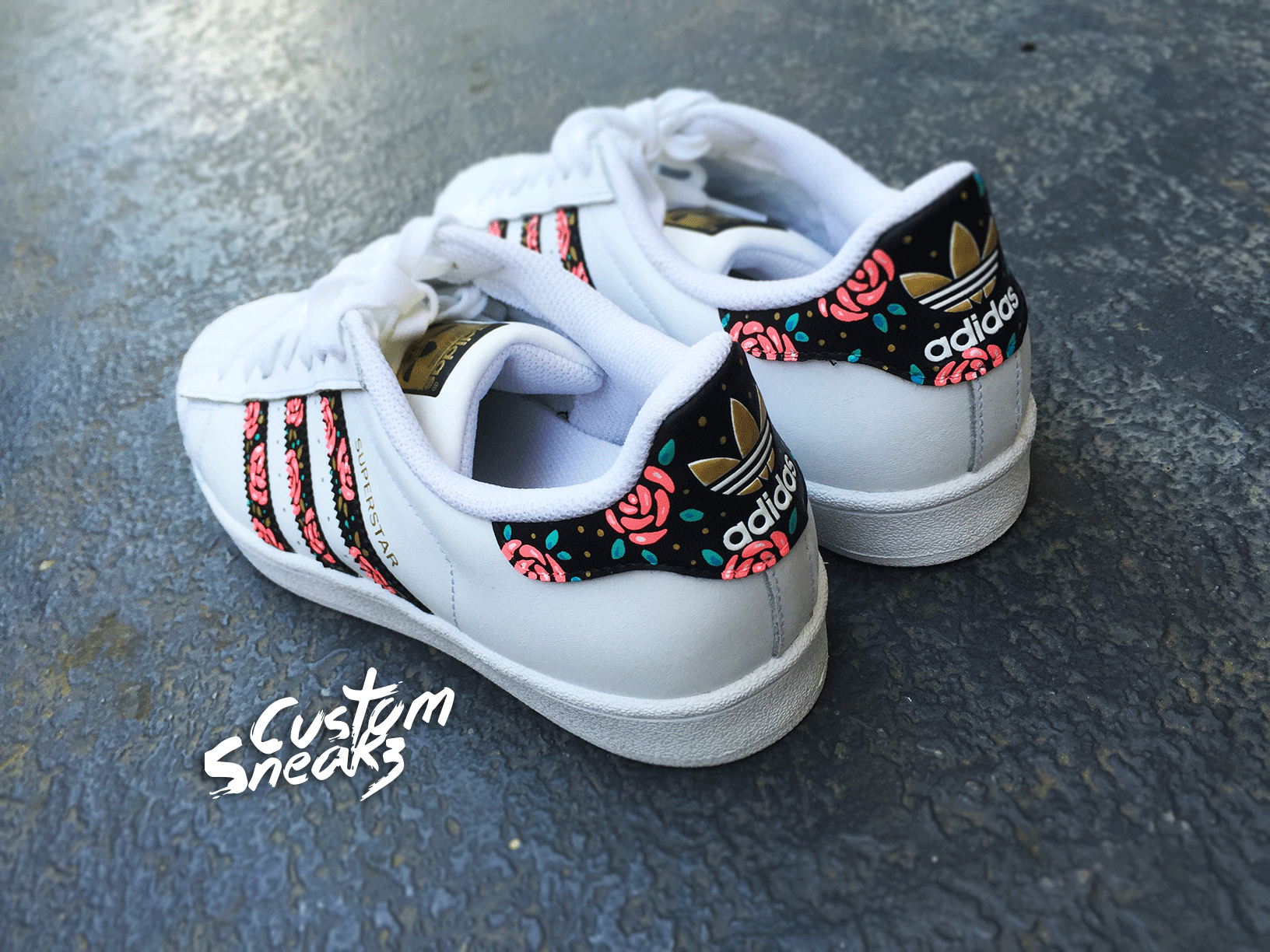 half off ceeec 9383f Custom Adidas Superstar for men and women, Adidas custom Hand Painted  floral design, Unisex sizes, Adidas superstar, Original