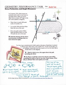 Performance Task Involving Area Perimeter And Angle Measures In Irregular Shapes Common Core Align Performance Tasks Teaching Math Math Activities Preschool