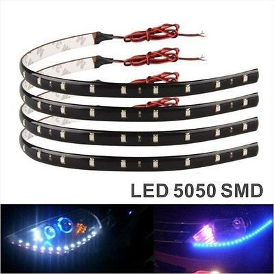 2x 12 Smd 30cm 12v Led Strips Strip 5050 Car Lighting Red Waterproof Drl Lifafa External Lighting Car Lights Led