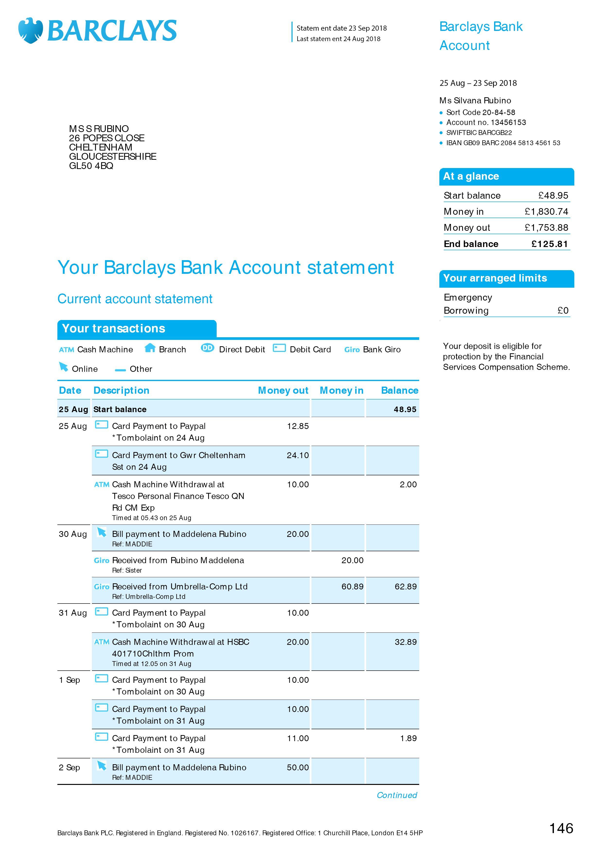 Barclays Bank Statement Psd Template Bank Statement Statement Template Credit Card Statement