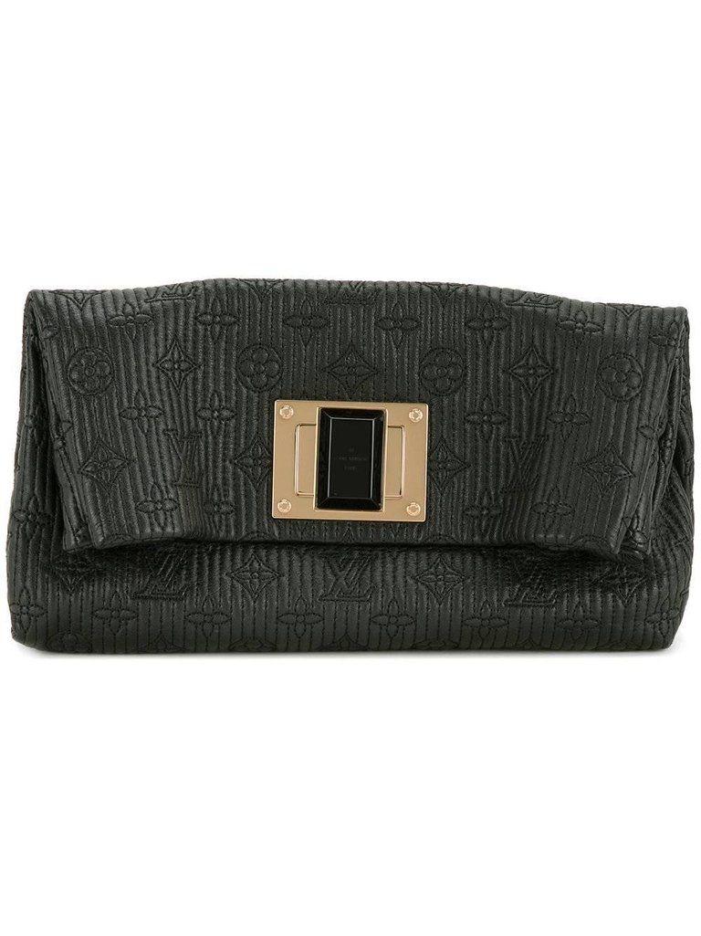Louis Vuitton Black Leather Monogram Gold Turnlock Foldover Evening Clutch Bag G1brTDHiHd
