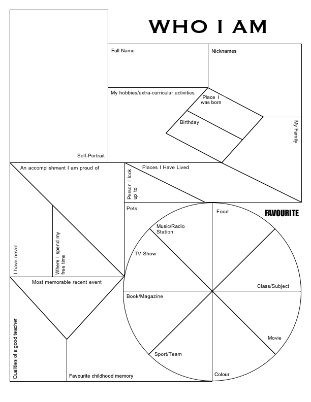 Who I Am Graphic Information Sheet First Week Of School Different Graphic Organizers School Activities Teaching