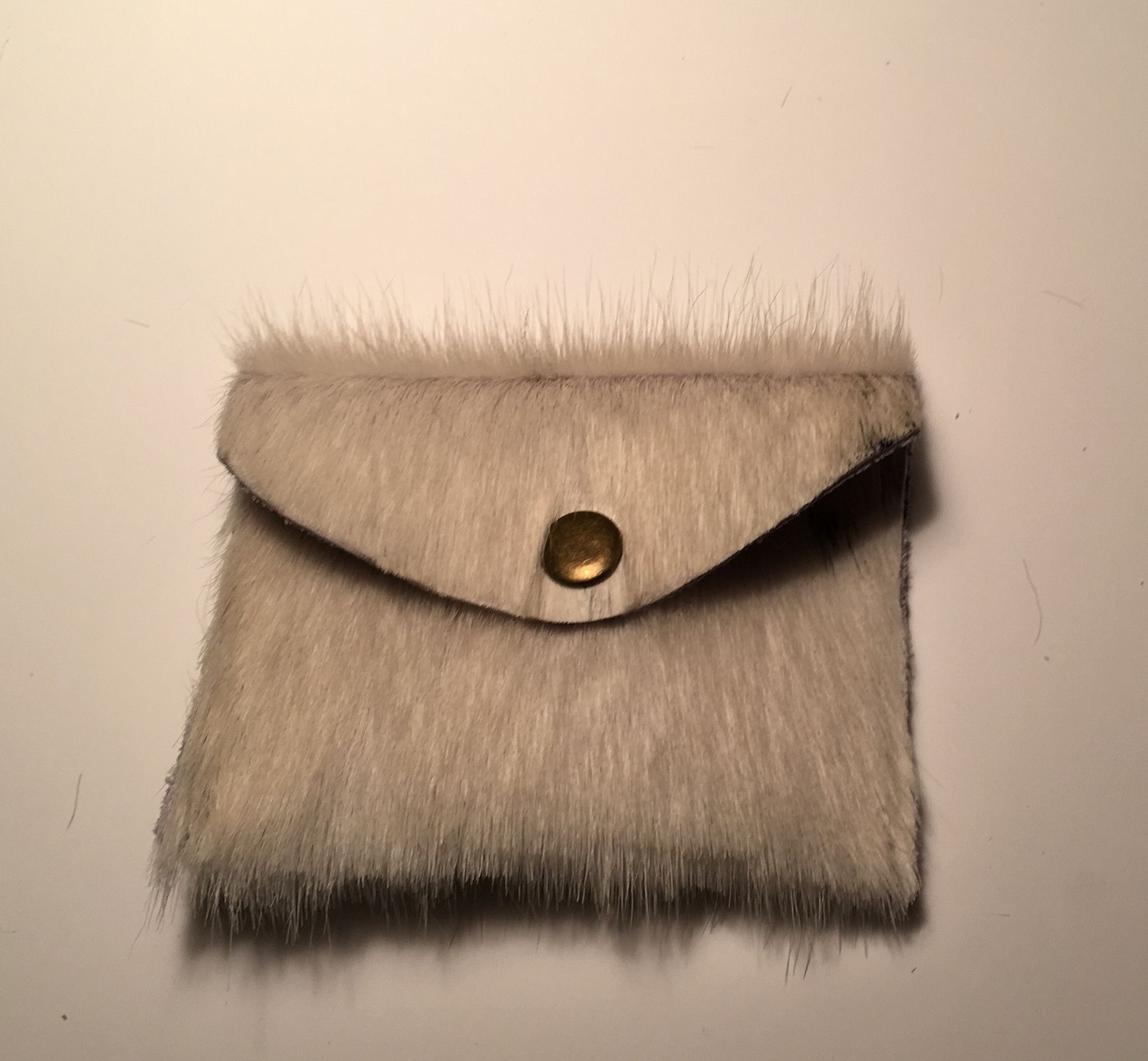 Cowhide Card Holder/Coin Purse - Tri-Color - Brown, White, and Orange
