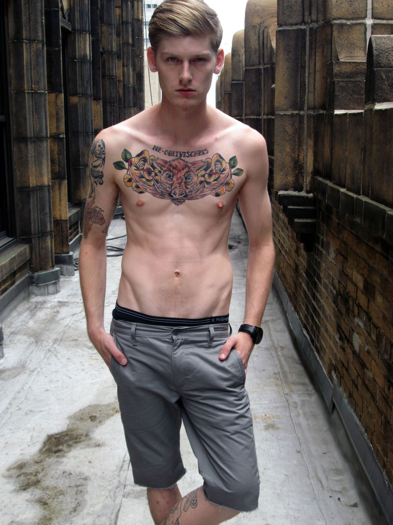Skinny and cute tattooed boy hot guys upset me | males and