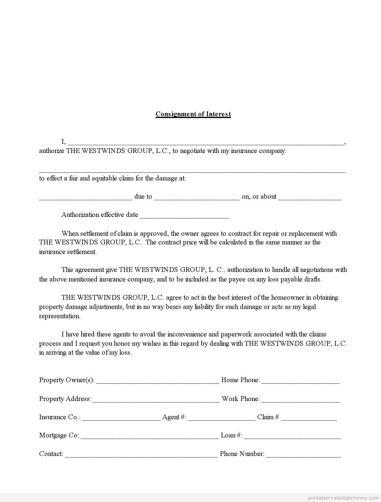 Printable Consignment Of Interest In Insurance Claim  Template