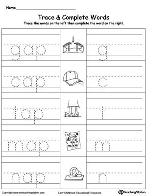 AP Word Family Trace and Write | Kindergarten, Word families and ...
