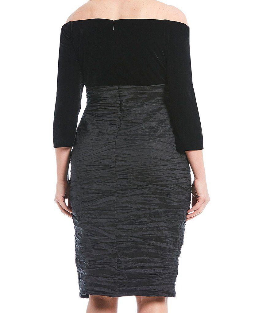 1cd13c71925 Alex Evenings Plus Size Velvet Off The Shoulder Bodice Taffeta Midi Sheath  Dress Velvet