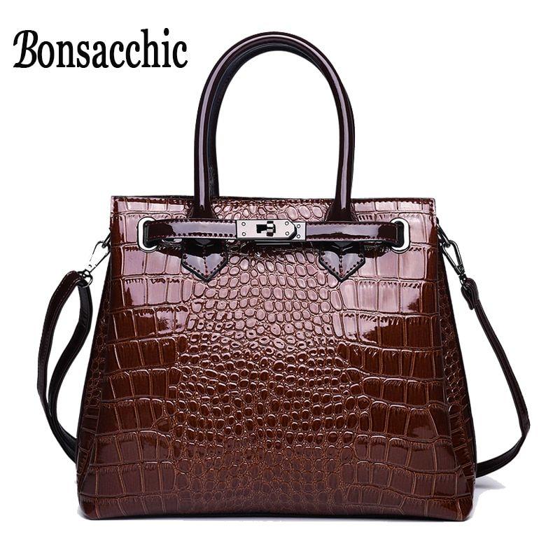 Women Handbags Leather Hand Bags Purse Shoulder Bags Crocodile Bag