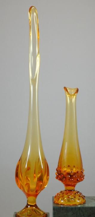 Amber  Orange Delicate Small Glass Bud Vase With Clear Twisted Stem