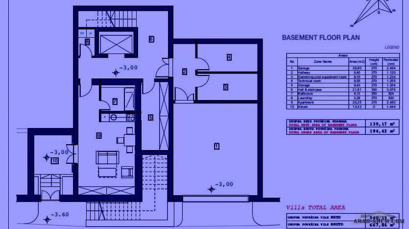 فيلا تتألف من طابق تحت الأرض قبو طابق أرضي مع منطقة مسبح وطابقين عاديين مساحة أرض الفيلا الإجمالية 750 م2 Villa Floor Plans