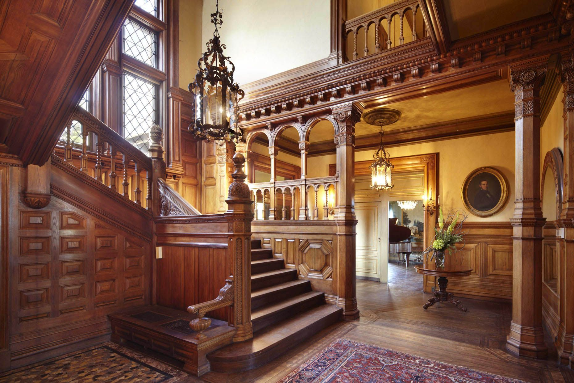 Victorian Mansion Foyer : Entryway and grand staircase of the burbank livingston