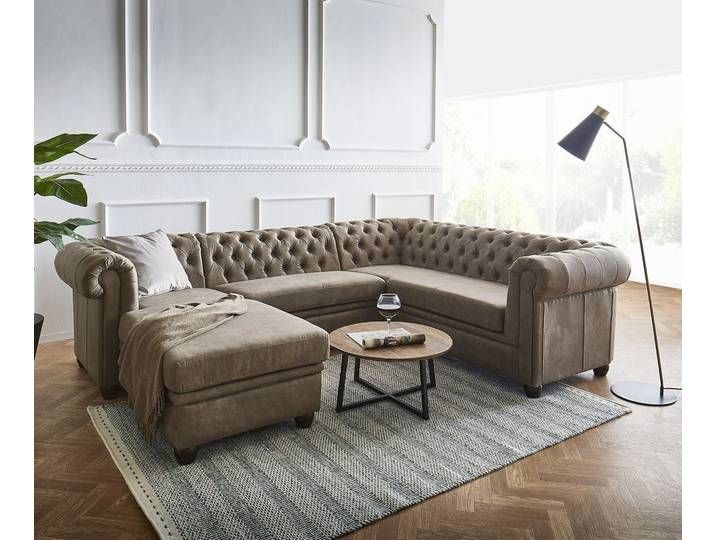 Delife Eckcouch Chesterfield 264x209x72 Cm Braun Ottomane Fix Links In 2020 Home Home Decor Couch