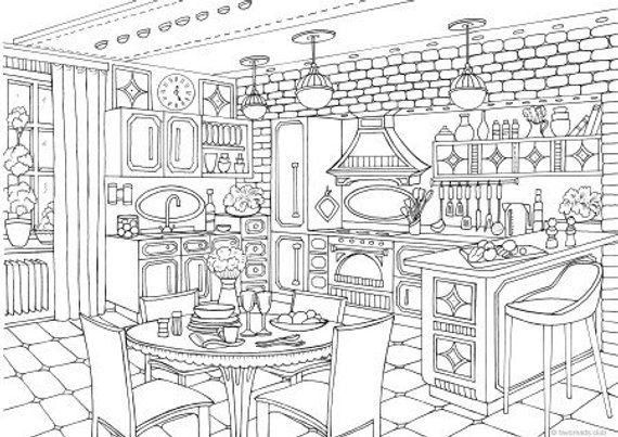 Modern Kitchen Printable Adult Coloring Page from