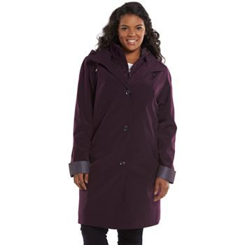 gallery hooded rain jacket - women's plus size | women's outerwear