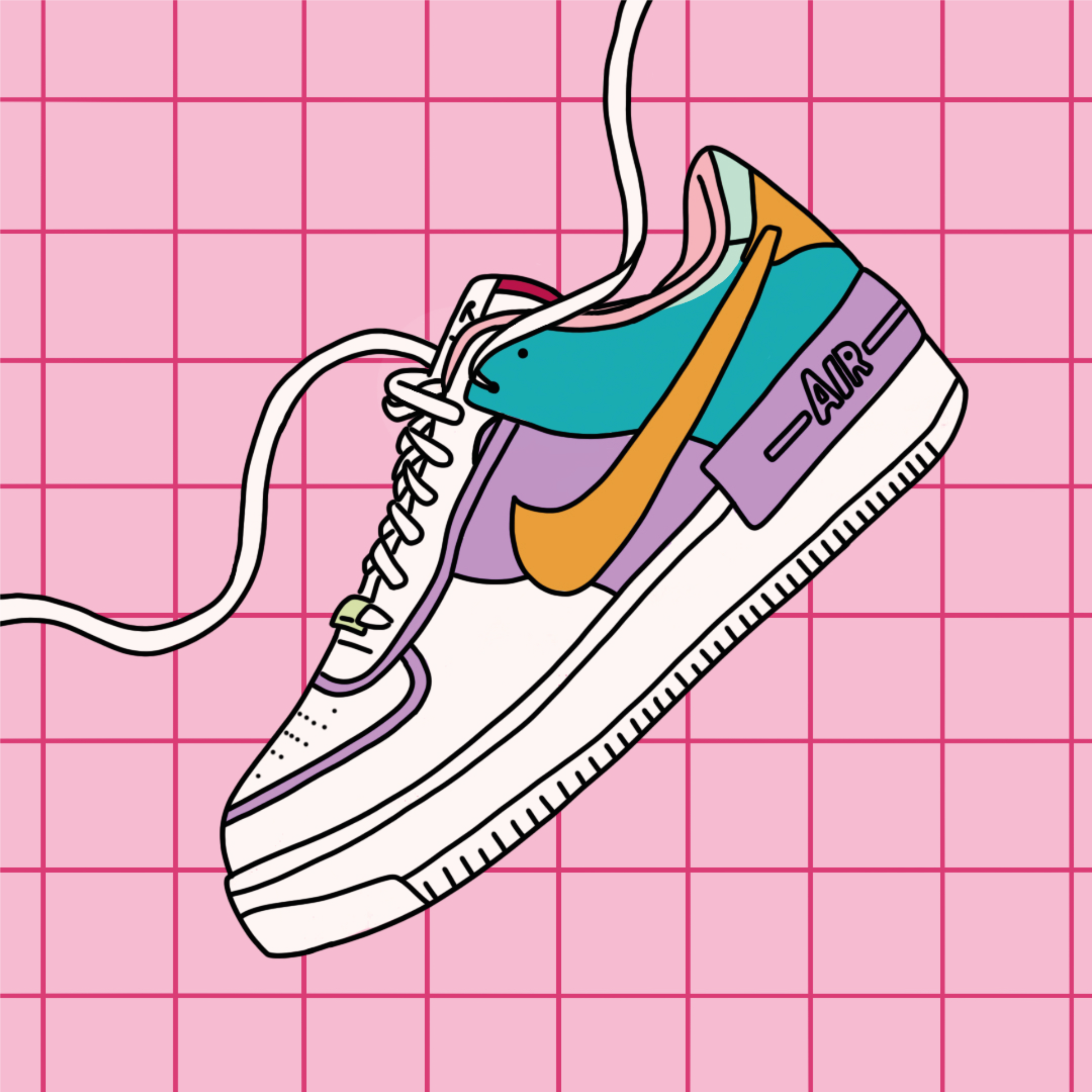 Nike Air 1 Shoe Illustration Pink Fashion Style A4 Print Sneaker Art Shoes Illustration Sneakers Illustration