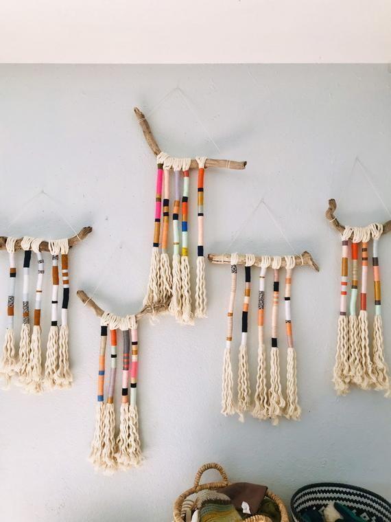 Bohemian yarn wrapped tassel wallhanging | Etsy