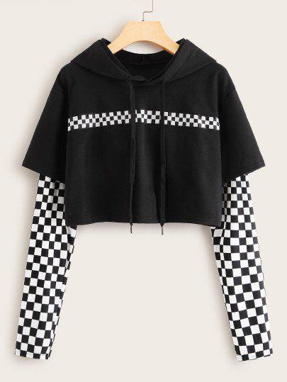 Contrast Checkerboard Print Drawstring Hoodie