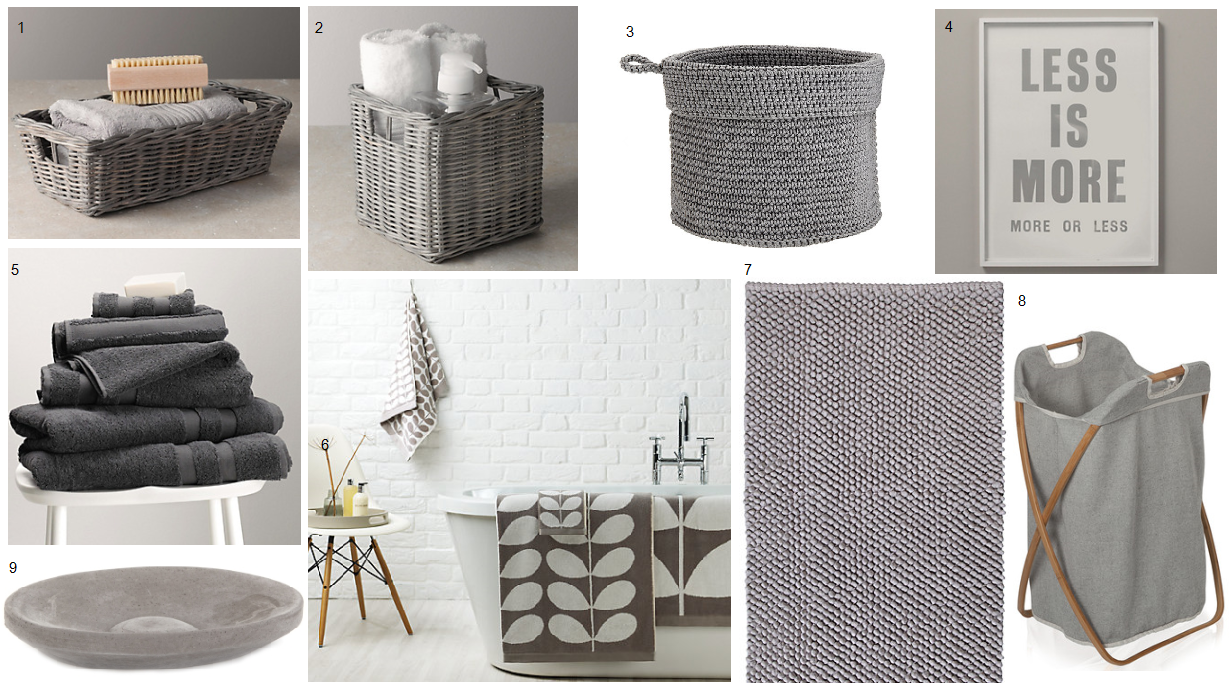 White And Grey Bathroom Accessories