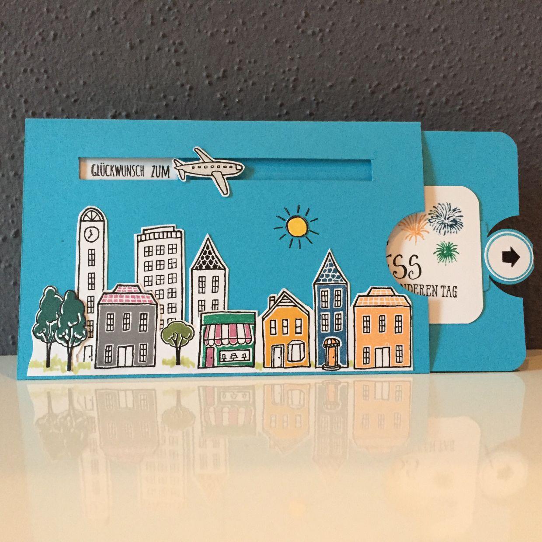 Geburtstagskarte Stadt Land Gruss Mit Anleitung Bk Bastelkarin Geburtstagkarten Basteln Karte Basteln Geburtstag Geburtstagskarte