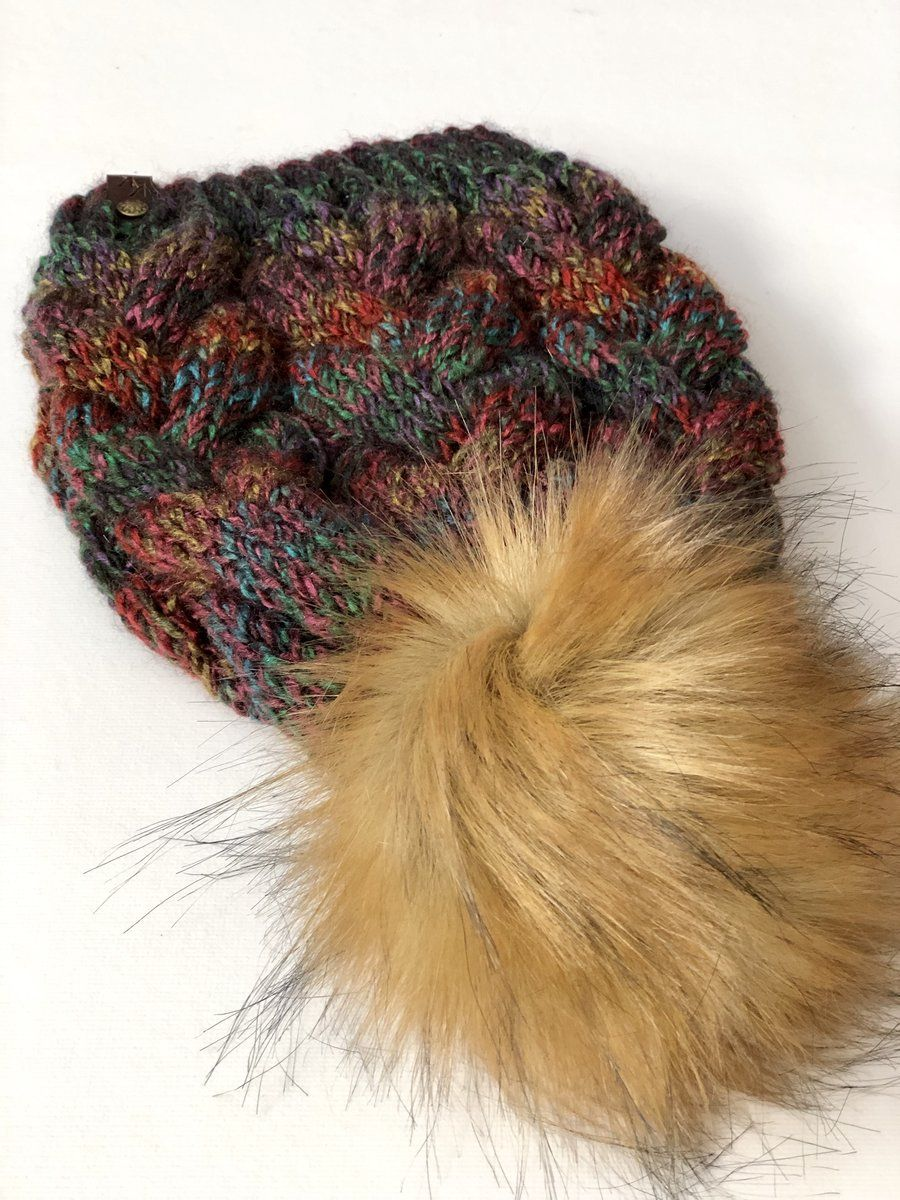 e704f852e70 Braided Cable Beanie Chunky Marble Red Fox Faux Fur Pom – KitchenKlutter