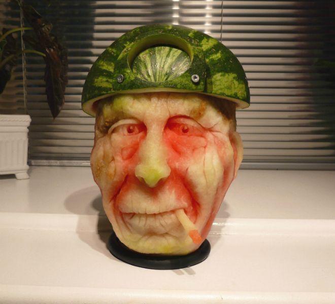 Sculpture pastèque | Sculpture de citrouille / #citrouille #pastèque #sculpture #sculpturesdecitrouille