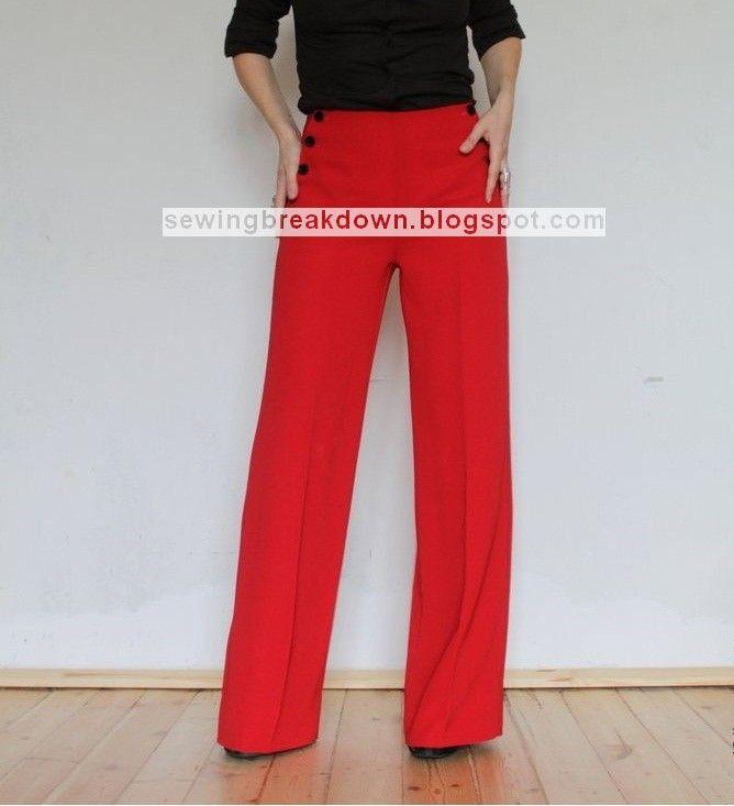 خياطة و تفصيل كيفية خياطة سروال نسائي واسع بالخطوات Pants For Women Fashion Clothes