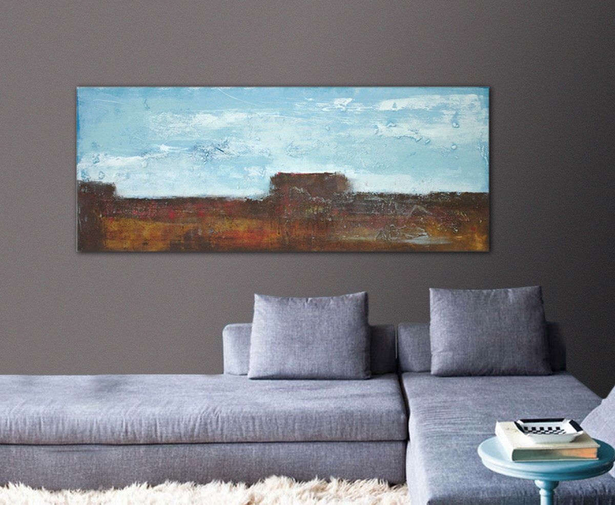 Abstract painting wall decor land and sky on canvas landscape