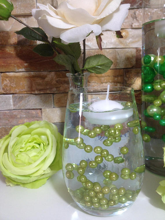 Lime Green Pearls 200pc 8mm Pearls For Candle Vase Fillers Table Scatters No Hole Pearls Small Pearls Wedding Pearls Candle Centerpieces Candle Vase Filler Small Vase