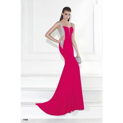 Mermaid Plunging Neckline Open Back Hot Pink Satin Beaded Prom Dress ...