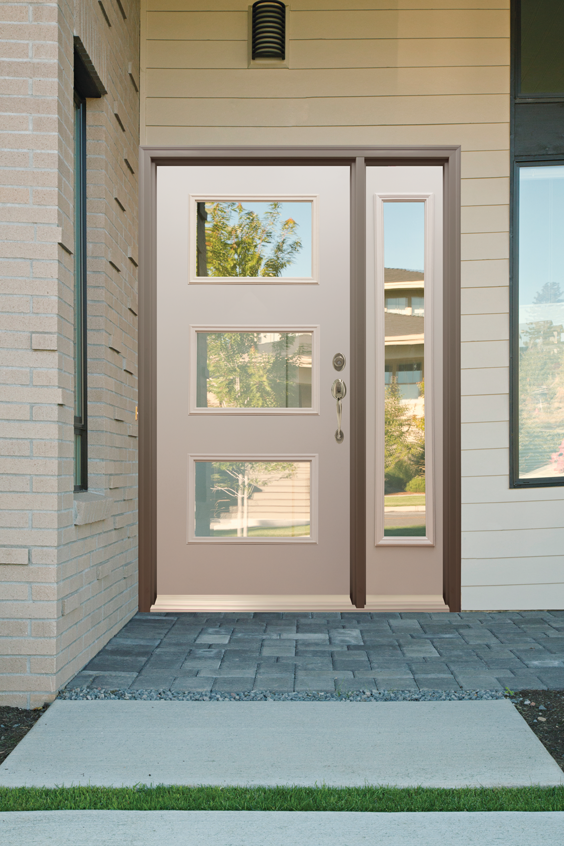 Add Mid Century Modern Flair To Your Home With Our New Flush 3 Lite Steel Door It S Primed An Contemporary Front Doors Modern Front Door Modern Exterior Doors