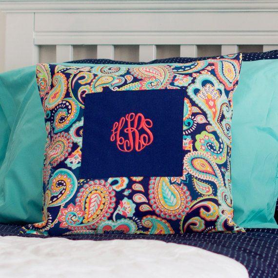 Emerson Paisley Pillow Cover Custom Personalized MONOGRAM