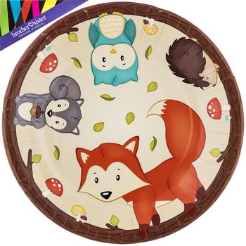 large woodland party plates | party plates, lobbies and book, Baby shower invitations