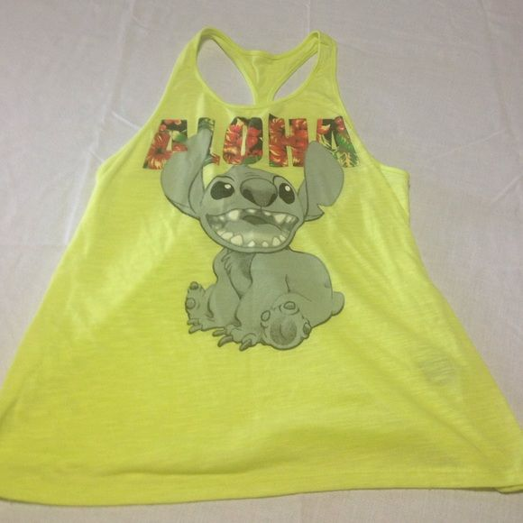 Disney LILO & STiTCH medium tank top Size medium . Purchased at Disney Land. Neon yellow. Disney Tops Tank Tops
