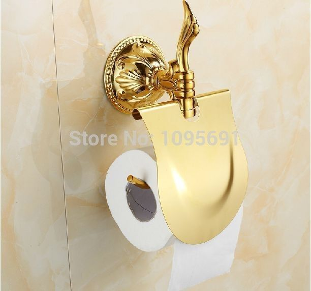 European Clical Roman Style Bathroom Accessories Solid Br Golden Paper Holder Gold Rack