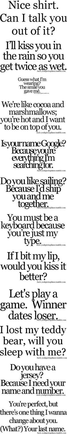 Funny Pick-up Lines By Hannahstewart111 On Polyvore
