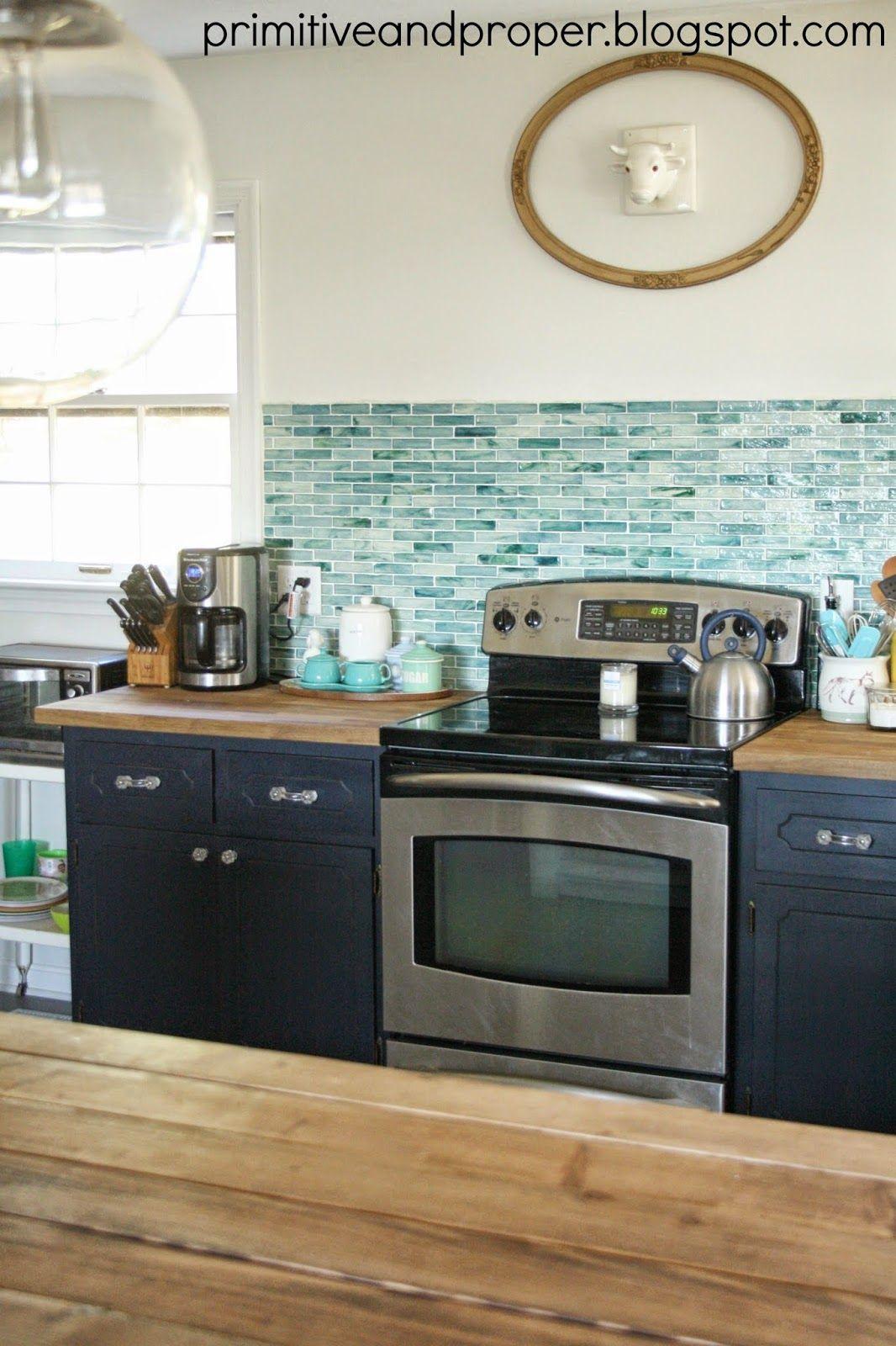 Primitive & Proper: DIY Recycled Glass Backsplash with The Tile Shop ...