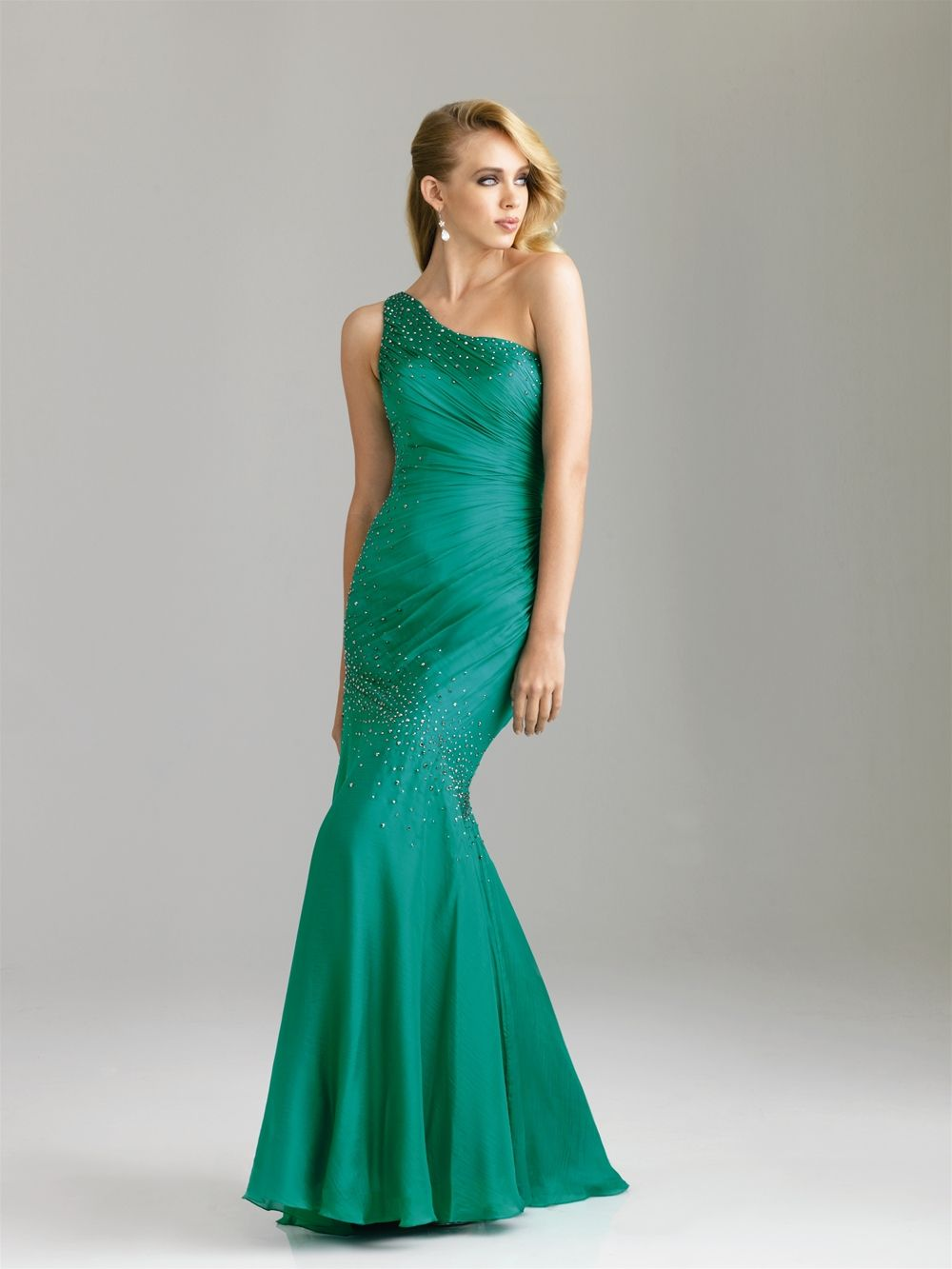 Night Moves Style: A500 A beautiful one shoulder fit and flare ...