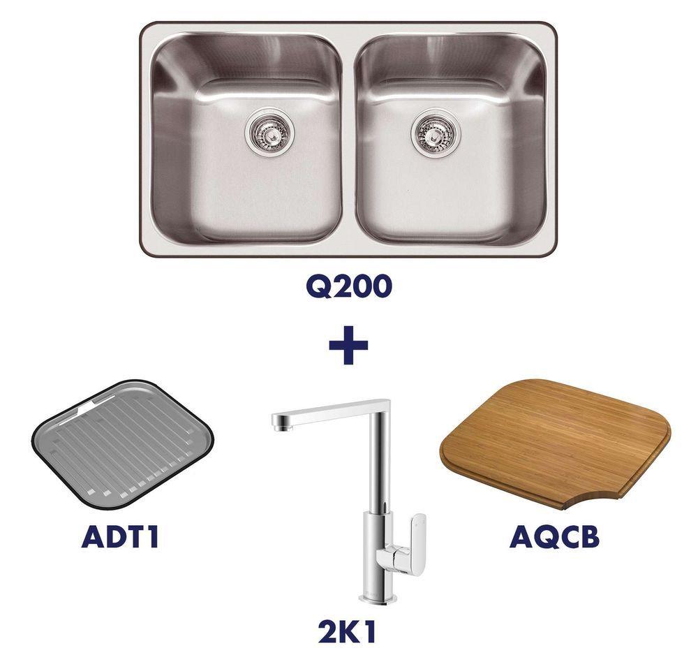 Abey Daintree Q200 Double Bowl Inset Sink 2k1 Tap Pack Q200t5