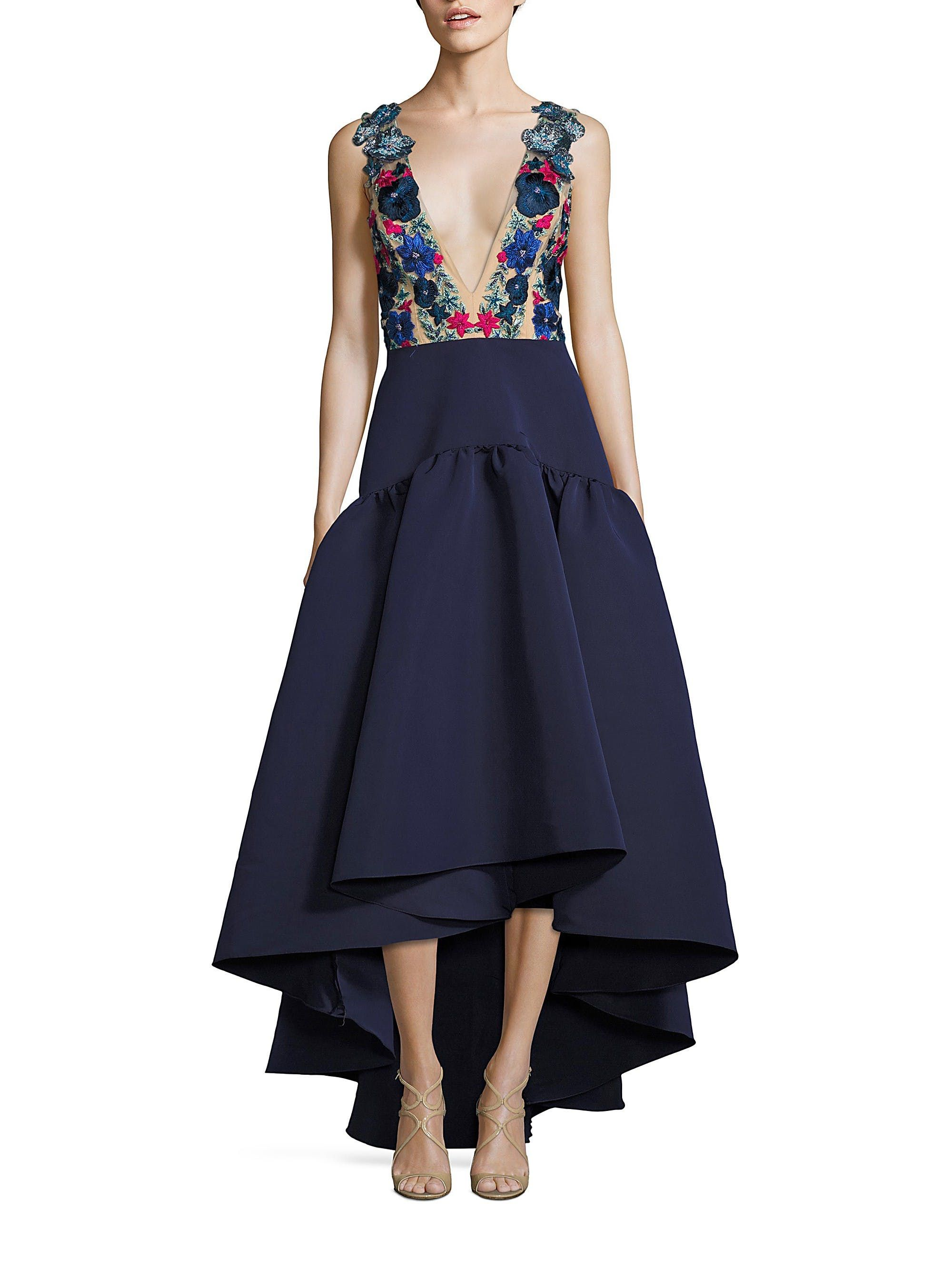 Floral Embroidered Gown by MARCHESA NOTTE   Dresses   Pinterest