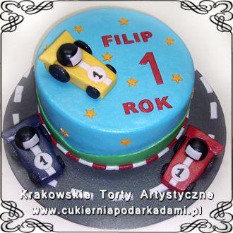 23809da54a9794 004. Tort na roczek z żółtą wyściogówką dla Filipa. Cake with racer ...