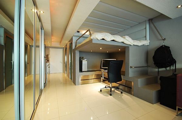 Modern minimalist loft bed with a stylish work area underneath