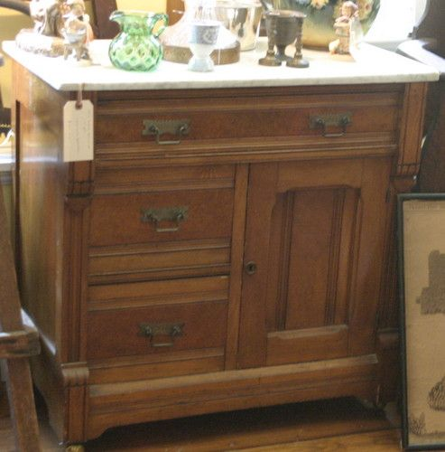 1800s Victorian Eastlake Carved Dresser With Marble Top