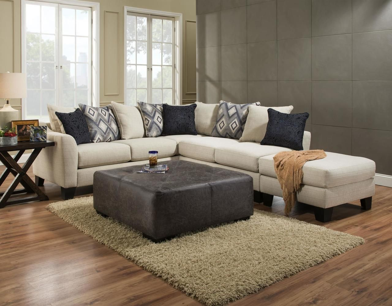 Albany Dynasty Cream Upholstered 2pc Sectional With Ottoman