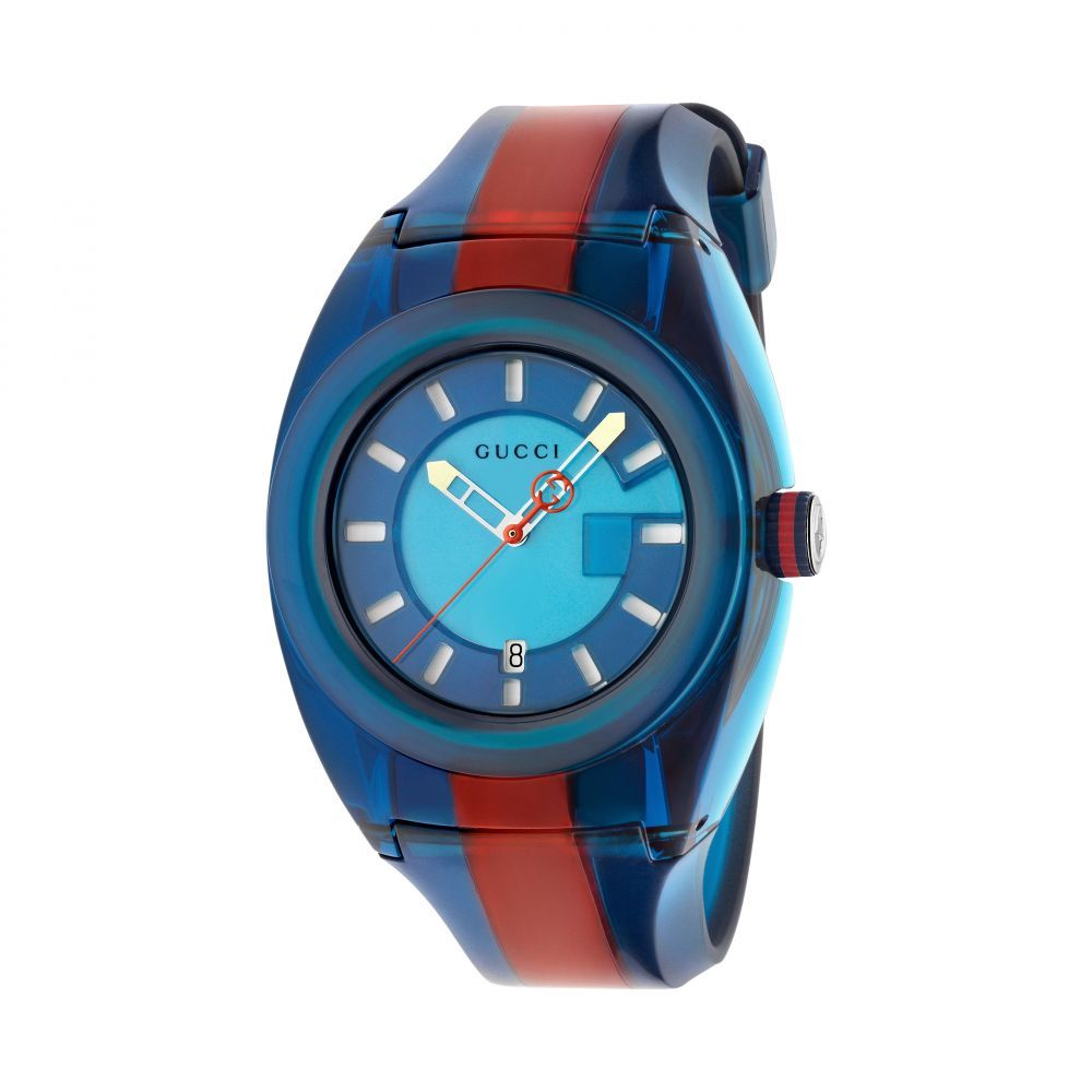 Gucci SYNC Blue & Red Rubber Strap Watch YA137112