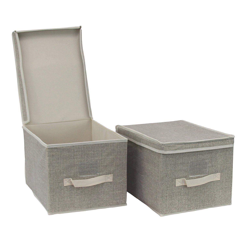 2er Set Aufbewahrungsbox Sortierbox Faltbox Mit Deckel Und Beschriftungsfenster Kleiderschrank Organizer Organisationssyste Aufbewahrungsbox Aufbewahrung Box